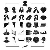 Equipment, textiles, clothing and other web icon in black style.Tool, building, material, icons in set collection. Stock Image