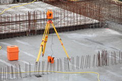 Equipment theodolite tool at construction site Royalty Free Stock Image