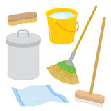 Equipment Tool Cleaner Housework Dustbin Brush Broom Mop Rag Bucket Cartoon Vector Royalty Free Stock Image
