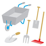 Equipment Tool Garden Wheelbarrow Spade Rake Fork Hoe Trowel Cartoon Vector Royalty Free Stock Photo