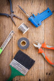 Equipment of tool on wooden background Royalty Free Stock Photography