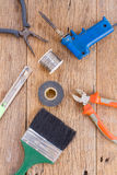 Equipment of tool on wooden background Royalty Free Stock Photo