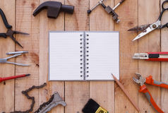 Equipment of tool on wooden background Stock Photo
