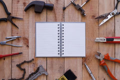 Equipment of tool on wooden background Stock Image