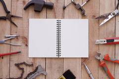 Equipment of tool on wooden background Stock Images