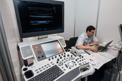 Equipment for the treatment of cancer. Saint-Petersburg, Russia - June 23, 2016: Exhibition of medical equipment, instruments, medicines to treat cancer stock photos