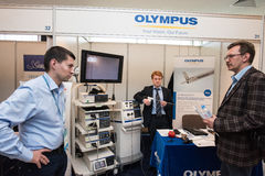 Equipment for the treatment of cancer. Saint-Petersburg, Russia - June 23, 2016: Exhibition of medical equipment, instruments, medicines to treat cancer royalty free stock photos