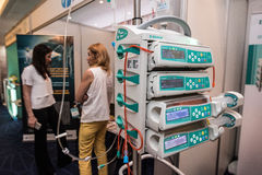 Equipment for the treatment of cancer. Saint-Petersburg, Russia - June 23, 2016: Exhibition of medical equipment, instruments, medicines to treat cancer royalty free stock image