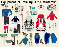Equipment for Trekking in the Rainforest. Stock Images