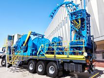 Equipment on truck coiled tubing. At exhibition stock photos