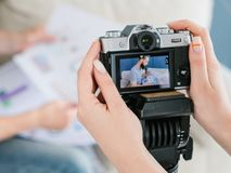 Equipment video shooting woman camera footage blog royalty free stock image
