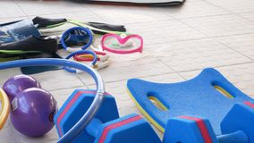 Equipment for water aerobics. Water aerobics. stock video