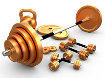 The equipment for weightlifting, 3D Royalty Free Stock Photo