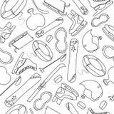 Equipment of winter sports hand drawn seamless pattern. Tools of winter sports. Seamless black and white pattern Stock Photos
