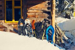 Equipment for winter travel stands in the snow. On the background of old shelter among huge pine trees covered with snow on sunny day Royalty Free Stock Image