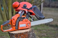 Equipment woodcutter, South Bohemia Stock Images