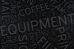 Equipment ,Word cloud art on blackboard.  royalty free stock image