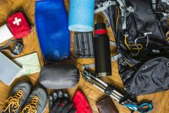 Equipment that would pack out on the trail. Equipment that would fit into a backpack to go out on a trail in the mountains royalty free stock photo