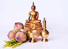 Equipments in Buddhist meritorious rite. The buddhism costom in the temple Thailand Royalty Free Stock Photos