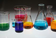 Equipments for laboratory. With colored samples Royalty Free Stock Images