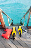 Equipments for snorkeling, mask fin and lifebuoy Royalty Free Stock Photo