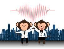 Equipo acertado de mono del doctor que da el alto cinco y risa Foto de archivo libre de regalías