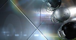 Equipo americano de los cascos de fútbol americano con la transición de acero geométrica Fotografía de archivo