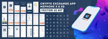 Equipo Crypto del App UI para el app móvil responsivo o página web con diverso GUI libre illustration