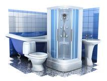 Equipo 3d del cuarto de baño Imagen de archivo libre de regalías