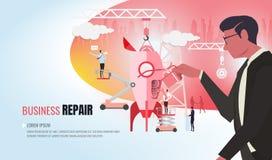 Equipo de ayuda ver2 del negocio de la reparación del negocio ilustración del vector