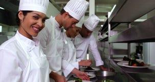 Equipo de cocineros que adornan el postre almacen de video