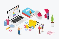 Equipo de comercialización digital isométrico con los hombres de negocios y el ordenador portátil con un poco de dinero e icon stock de ilustración