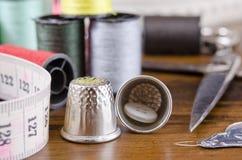 Equipo de costura Foto de archivo libre de regalías