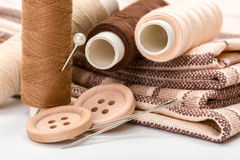Equipo de costura de Brown Imagen de archivo
