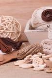 Equipo de costura del arte. Accesorios de la adaptación Fotografía de archivo