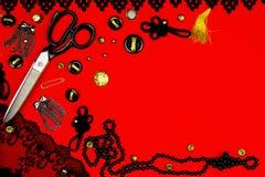 Equipo de costura del concepto Imagen de archivo libre de regalías