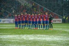 Equipo de CSKA en el juego de fútbol Fotos de archivo libres de regalías