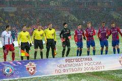 Equipo de CSKA en el juego de fútbol Imágenes de archivo libres de regalías