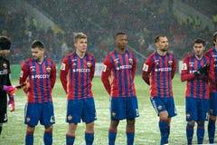 Equipo de CSKA en el juego de fútbol Imagenes de archivo