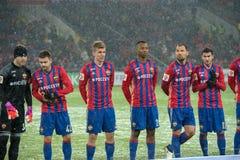 Equipo de CSKA en el juego de fútbol Fotos de archivo