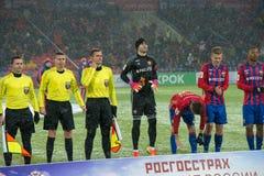 Equipo de CSKA en el juego de fútbol Fotografía de archivo