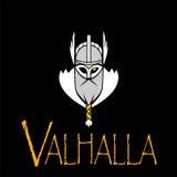 Equipo de deporte del ejemplo de Odin de dios o liga escandinavo Logo Template Cabeza del guerrero poderoso en mascota del casco Foto de archivo libre de regalías