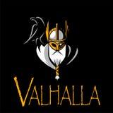 Equipo de deporte del ejemplo de Odin de dios o liga escandinavo Logo Template Cabeza del guerrero poderoso en mascota del casco Fotografía de archivo libre de regalías