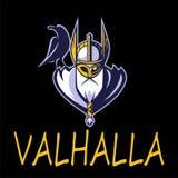 Equipo de deporte del vector del ejemplo de Odin de dios o liga escandinavo Logo Template Cabeza del guerrero poderoso en mascota Foto de archivo libre de regalías