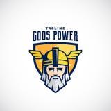 Equipo de deporte del vector del poder de dioses o liga Logo Template Odin Face en un escudo, con tipografía Imagenes de archivo