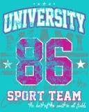 Equipo de deportes de la universidad ilustración del vector