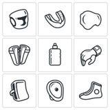 Equipo de deportes para los iconos de los artes marciales fijados Ilustración del vector Fotos de archivo