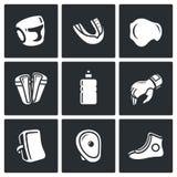 Equipo de deportes para los iconos de los artes marciales fijados Ilustración del vector Imagen de archivo