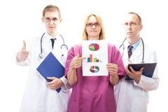 Equipo de doctores que presentan buenos resultados investigadores Foto de archivo
