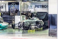 Equipo de encajonamiento Mercedes Preparación del coche Nico Erik Rosberg t Foto de archivo